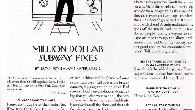 Million-Dollar Subway Fixes